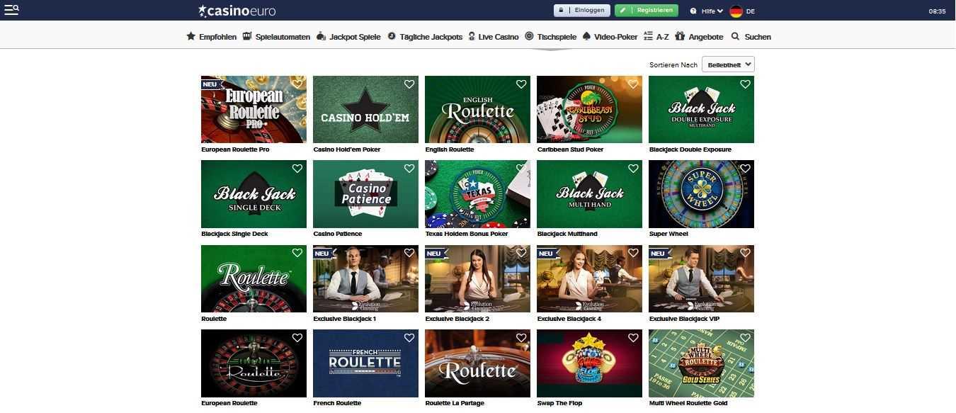 CasinoEuro Tischspiele
