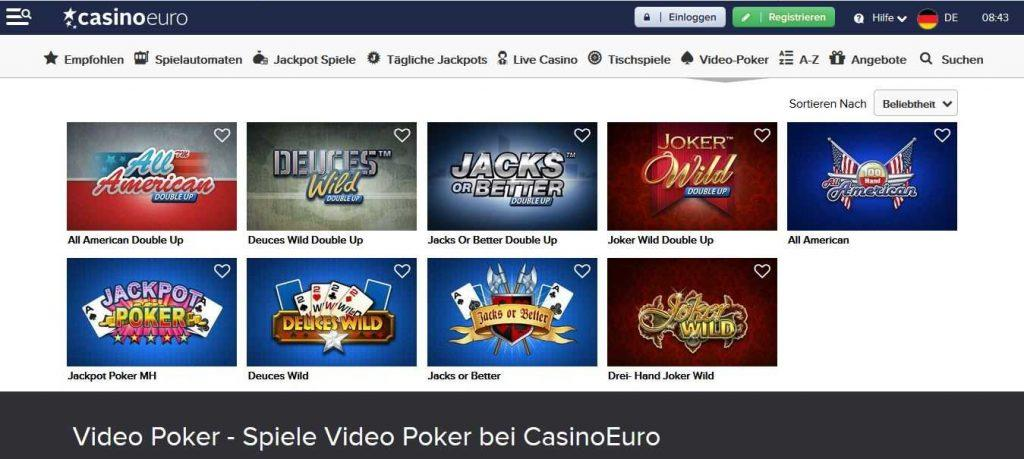 CasinoEuro Video Poker