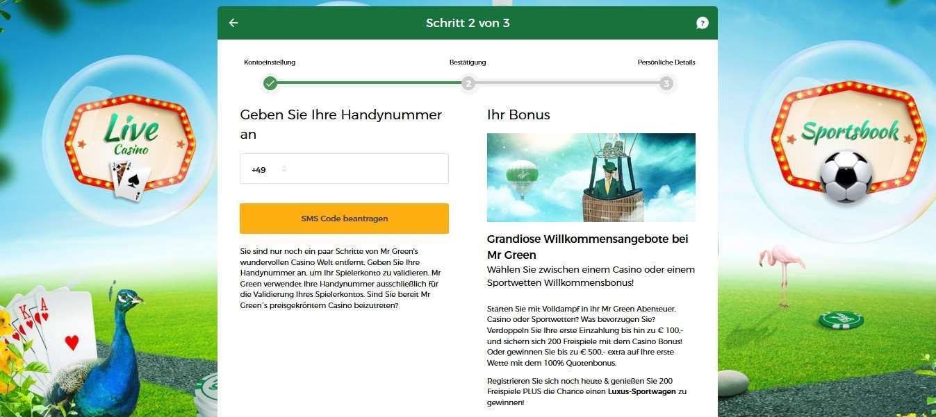 Mr.Green Anmeldung