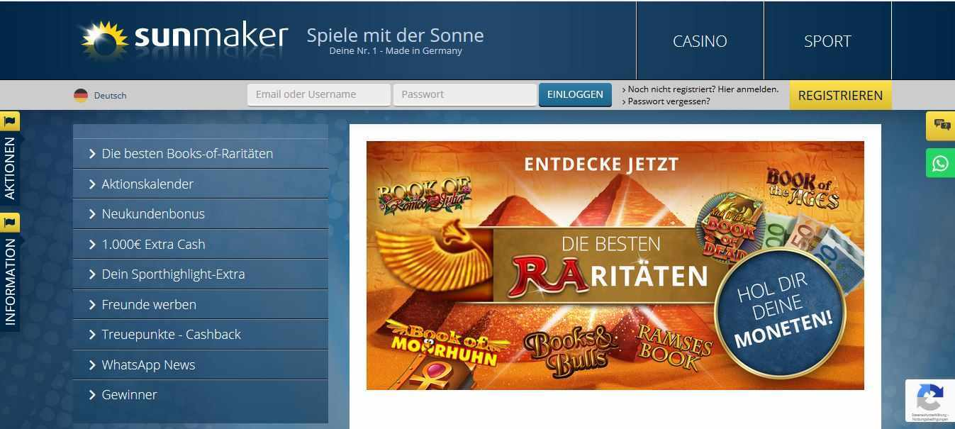 Sunmaker Casino Aktionen