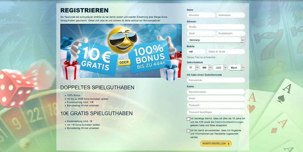 sunnyplayer casino registrierung