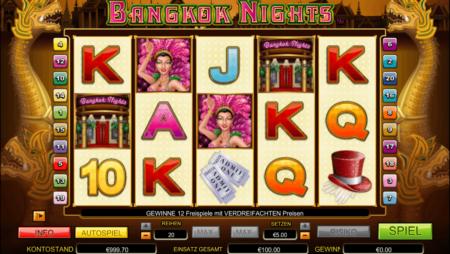 Freispiele mit verdreifachten Gewinn bei Bangkok Nights
