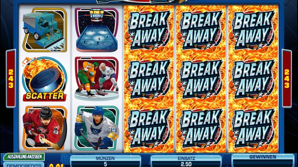 Break Away – sportlicher Slot mit Eishockeyspielern!