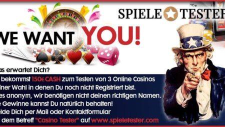 Vi leter etter online casino testere!