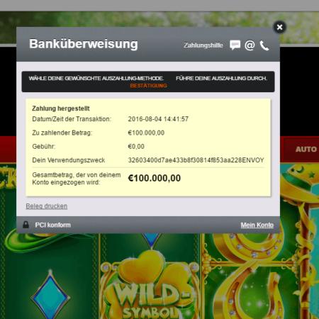 Betsson Casino Gewinn – 100.000€ gewonnen