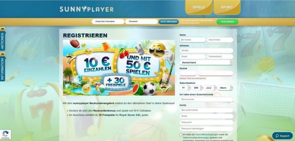 sunnyplayer anmeldung