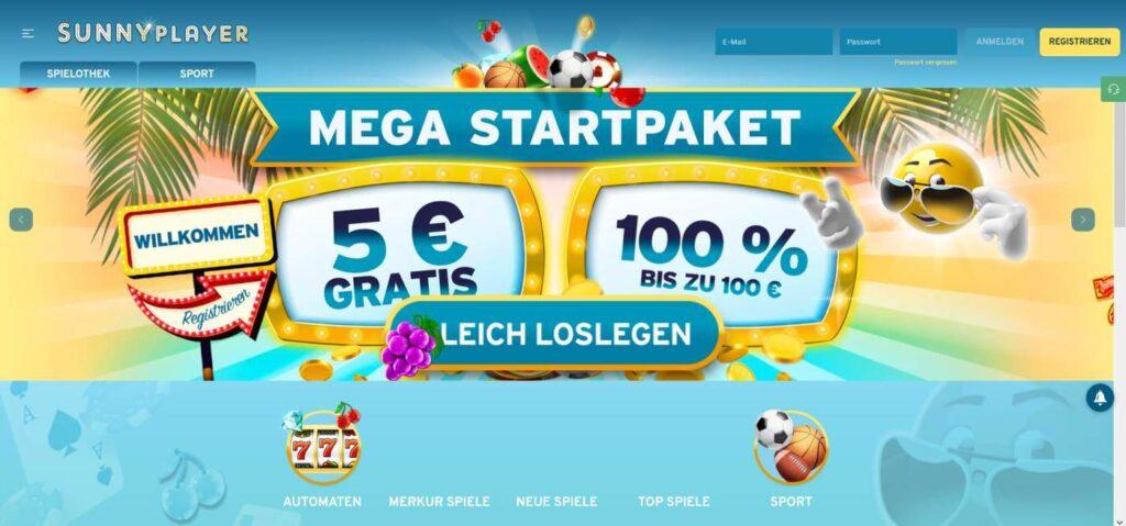 5 Euro Bonus ohne Einzahlung Sunnyplayer